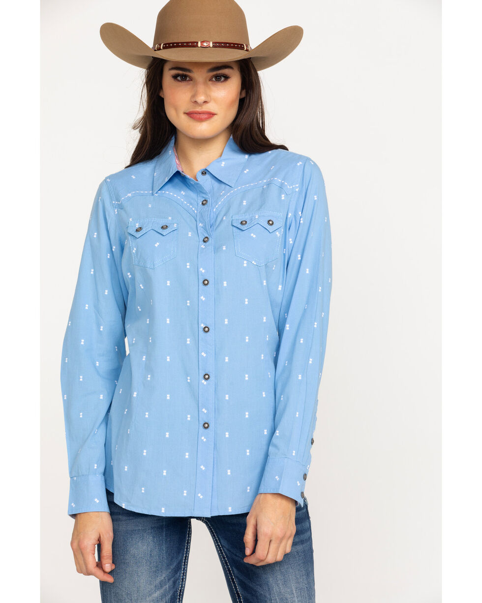 Ariat Women's REAL Lucky Print Snap Long Sleeve Western Shirt - Plus , Light Blue, hi-res