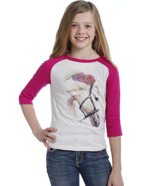 Rock & Roll Cowgirl Girls' Flower Horse Baseball Tee , Pink, hi-res