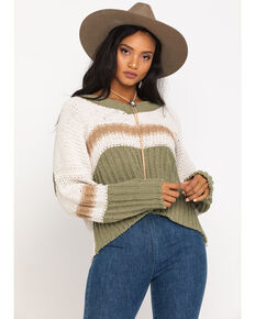 Pol Women's Sage Stripe V-Neck Sweater, Multi, hi-res