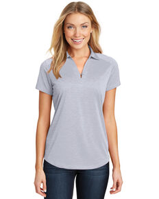 Port Authority Women's Light Grey Digi Heather Performance Polo, Grey, hi-res