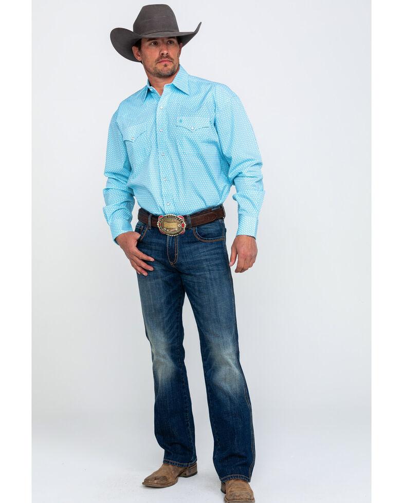Stetson Men's Small Floral Print Long Sleeve Western Shirt , Blue, hi-res