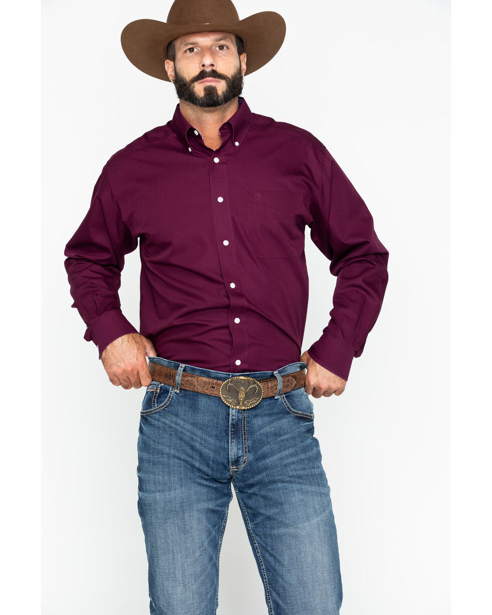 Ariat Men's Maroon Solid Twill Shirt , Maroon, hi-res