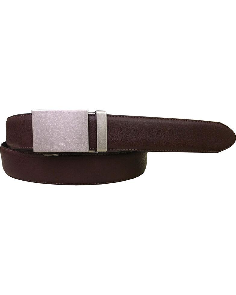 Danbury Men's Plaque Buckle Genuine Leather Belt, Brown, hi-res