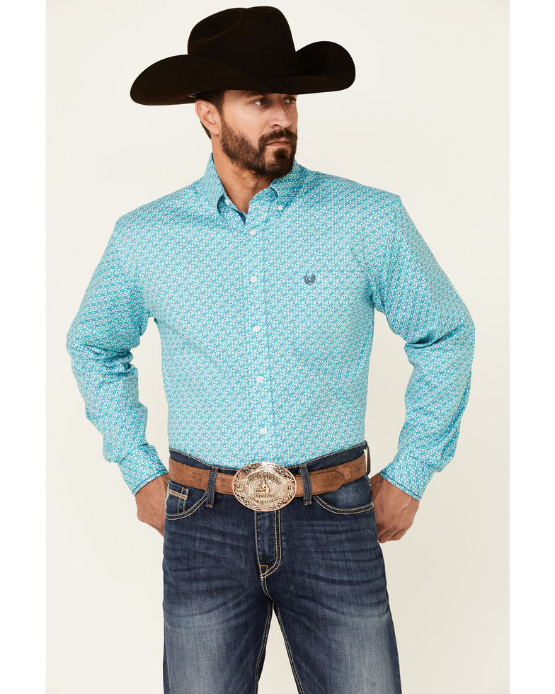 Rough Stock By Panhandle Men's Turquoise Geo Print Long Sleeve Button-Down Western Shirt , Turquoise, hi-res