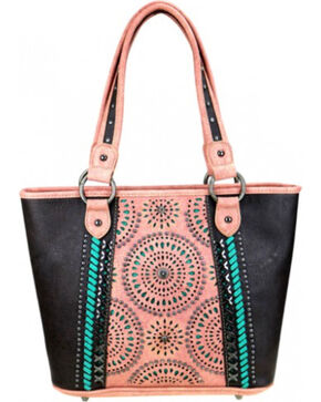 Montana West Women's Cut-Out Matching Inlay Concealed Carry Handbag , Dark Brown, hi-res