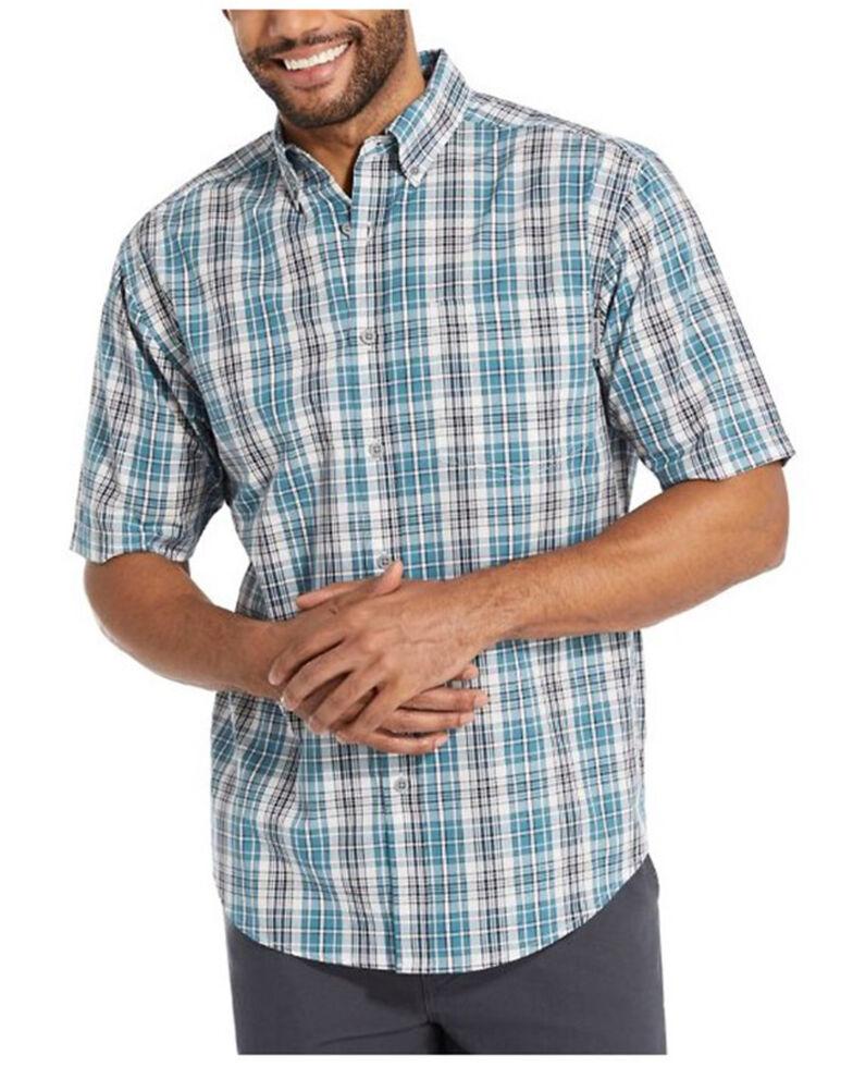 Wolverine Men's Blue Mortar Plaid Short Sleeve Button-Down Work Shirt , Blue, hi-res