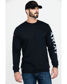 Ariat Men's FR Black Old Glory Logo Crew Long Sleeve Work Shirt, Black, hi-res