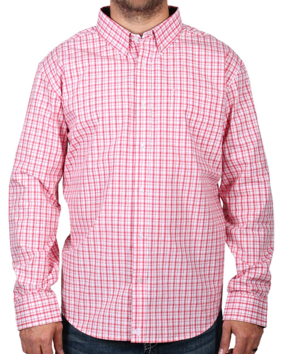 Cody James® Men's Check Patterned Long Sleeve Shirt, Peach, hi-res
