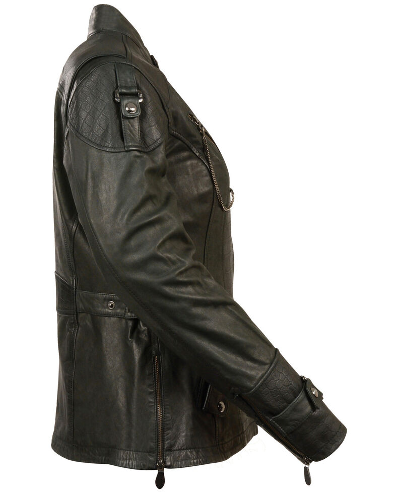 Milwaukee Leather Women's 3/4 Gator Print Motorcycle Leather Jacket, Black, hi-res