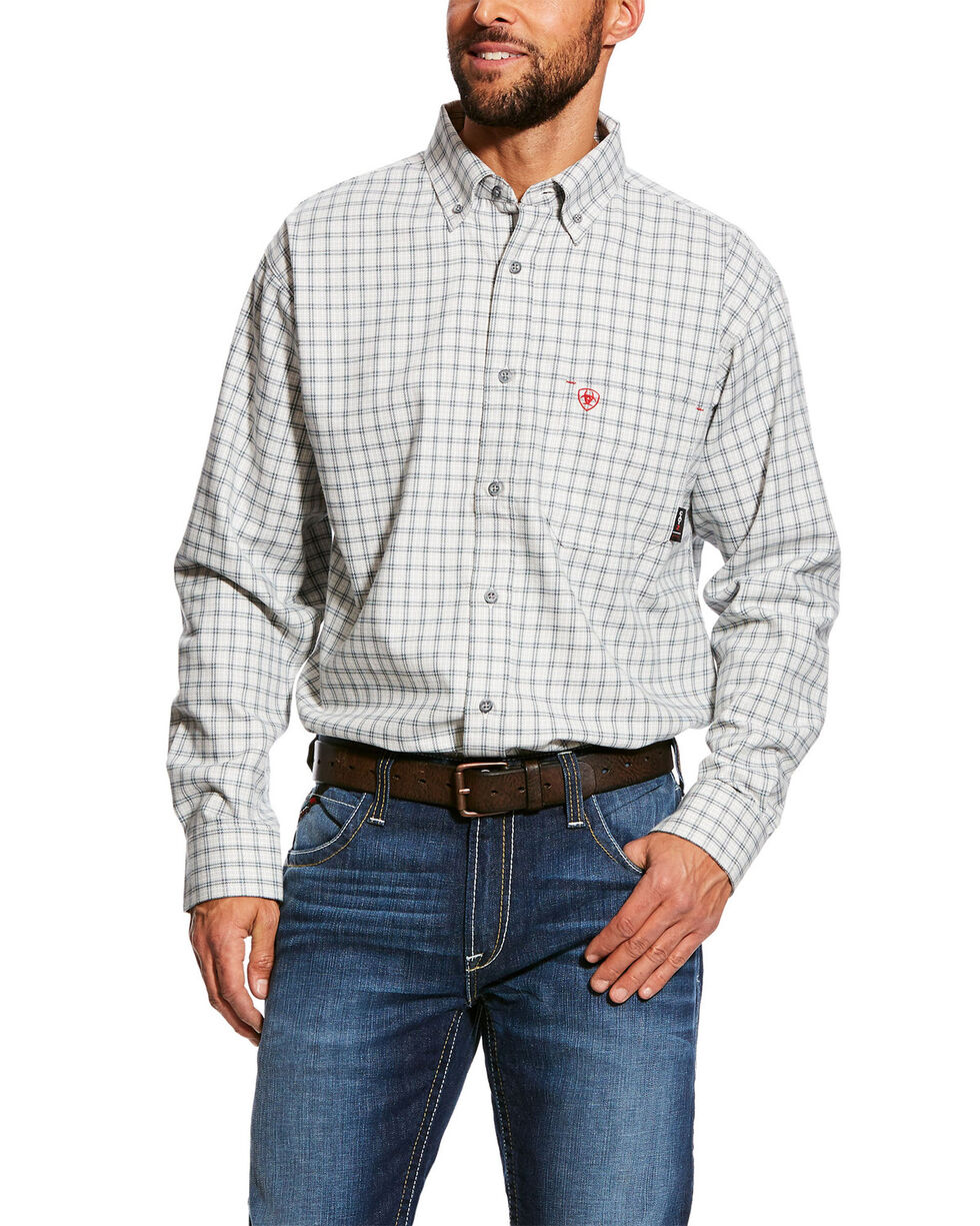 Ariat Men's FR Atlas Check Plaid Long Sleeve Work Shirt - Tall , Grey, hi-res