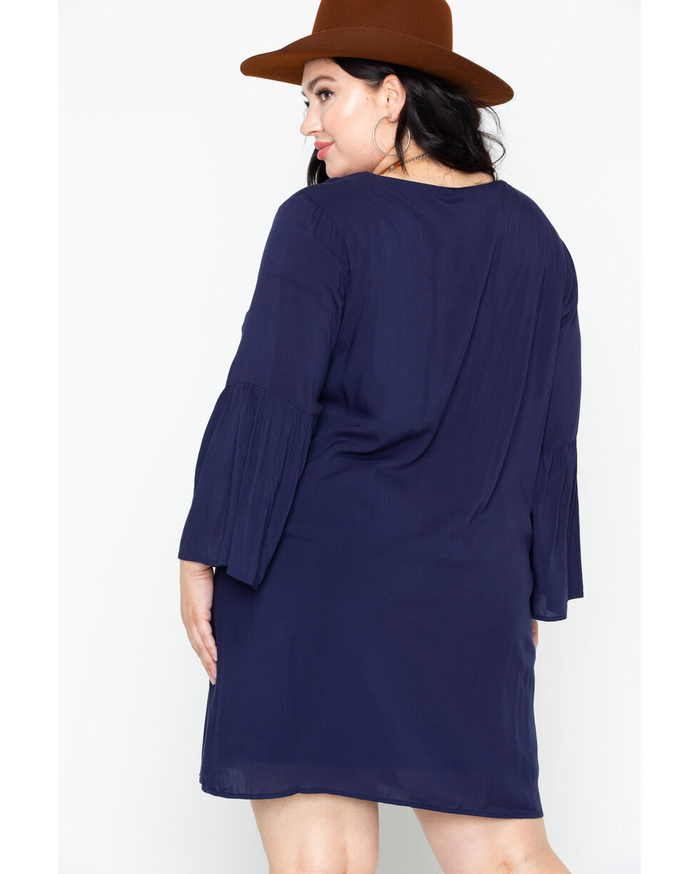 Flying Tomato Women's Embroidered Tie-Up Neck Dress , Navy, hi-res