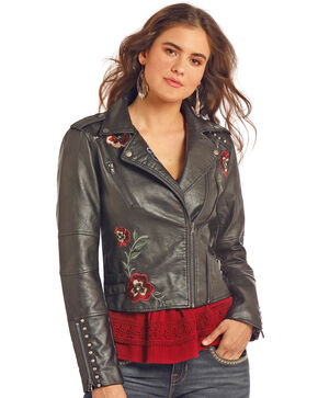 Rock & Roll Cowgirl Women's Floral Moto Jacket , Black, hi-res