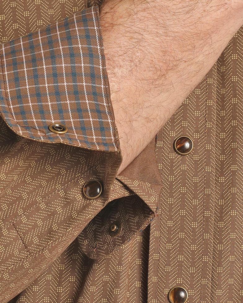 Panhandle Men's Brown Peached Poplin Print Shirt , Brown, hi-res