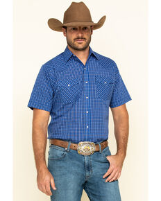 Ely Cattleman Men's Blue Mini Check Plaid Short Sleeve Western Shirt , Blue, hi-res