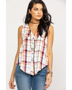 Shyanne Women's Red Plaid Tie-Up Sleeveless Shirt, Cream/red, hi-res