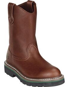 John Deere® Children's Wellington Work Boots, Brown, hi-res
