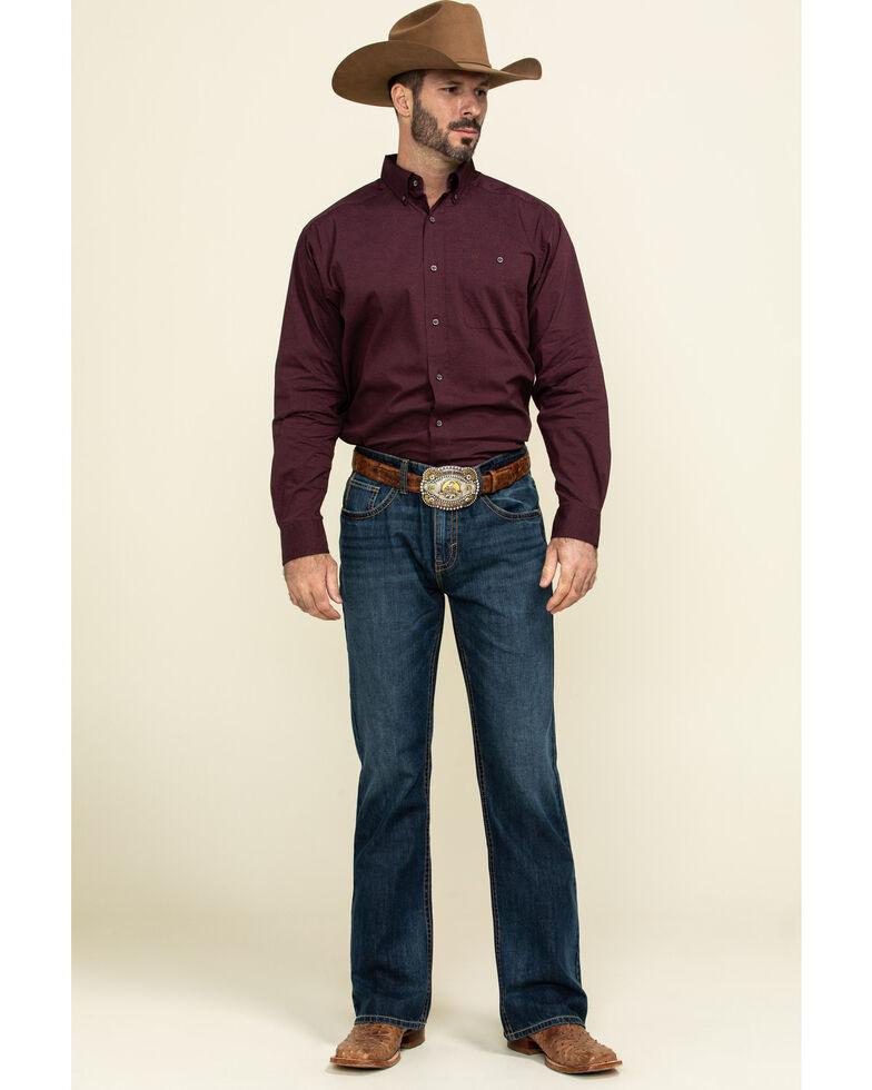 Ariat Men's Burgundy Air Flow Stretch Long Sleeve Western Shirt , Burgundy, hi-res