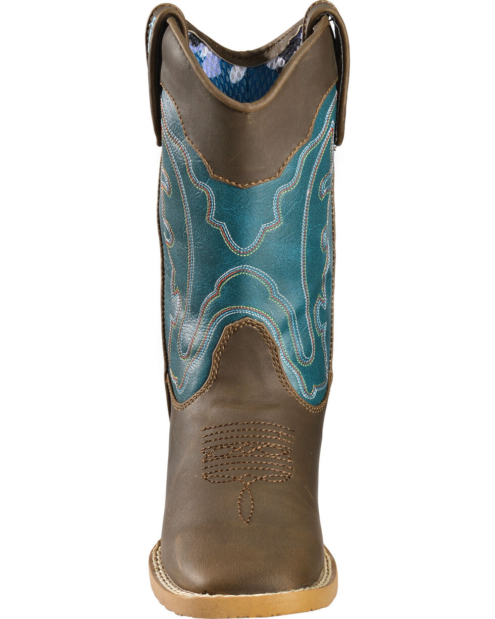 Double Barrel Boys' Open Range Cowboy Boots - Square Toe, Brown, hi-res
