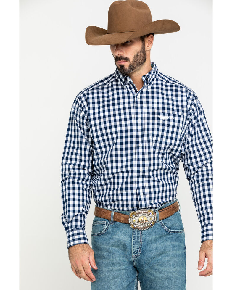 Ariat Men's Relentless Might Stretch Plaid Long Sleeve Western Shirt , Navy, hi-res