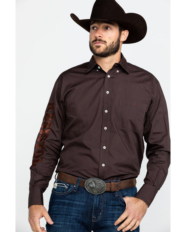 Resistol Men's Brickyard Solid Logo Long Sleeve Western Shirt , Brown, hi-res