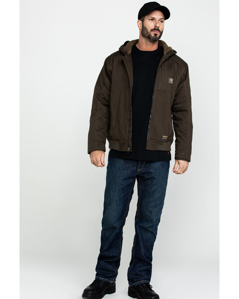 Ariat Men's Rebar Dura Canvas Zip Up Work Jacket , Loden, hi-res