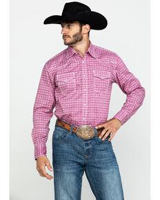Wrangler 20X Men's Advanced Comfort Magenta Geo Print Long Sleeve Western Shirt , Magenta, hi-res