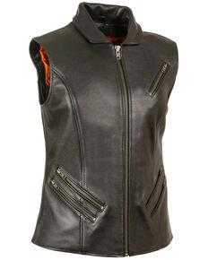 Milwaukee Leather Women's Extra Long Zipper Front Vest, Black, hi-res