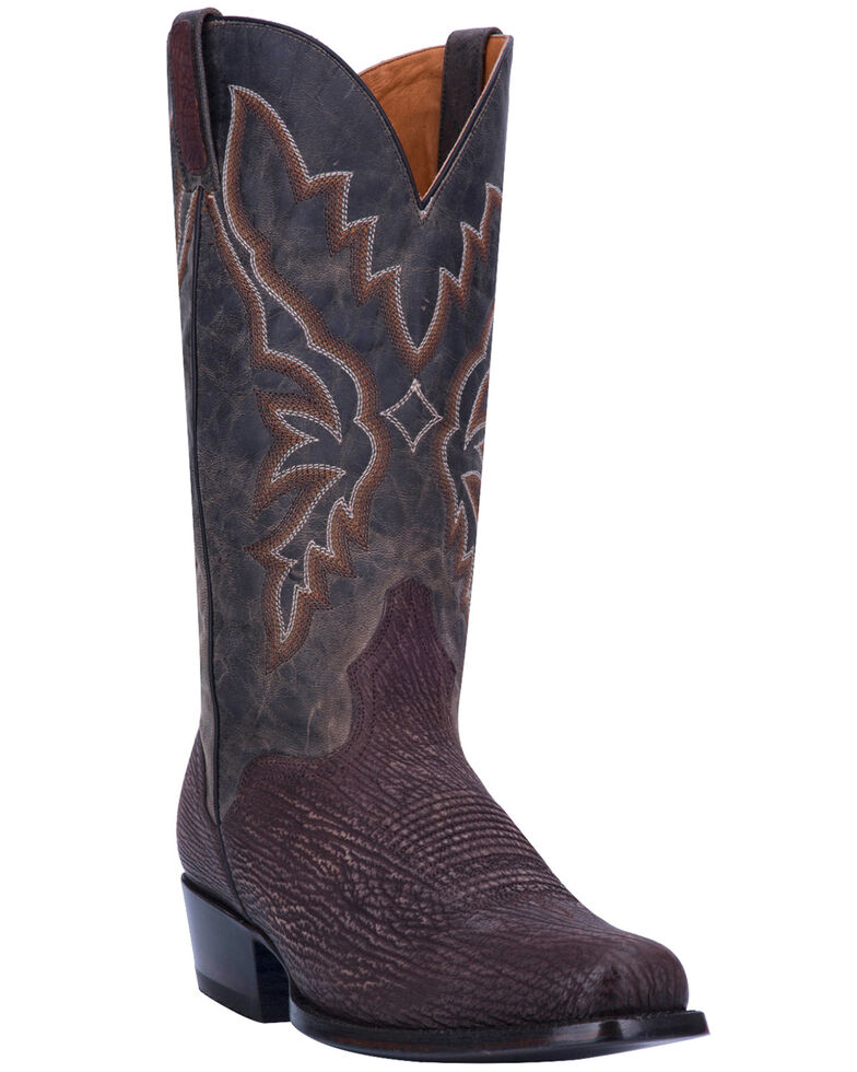 El Dorado Men's Sanded Shark Western Boots - Square Toe , Chocolate, hi-res