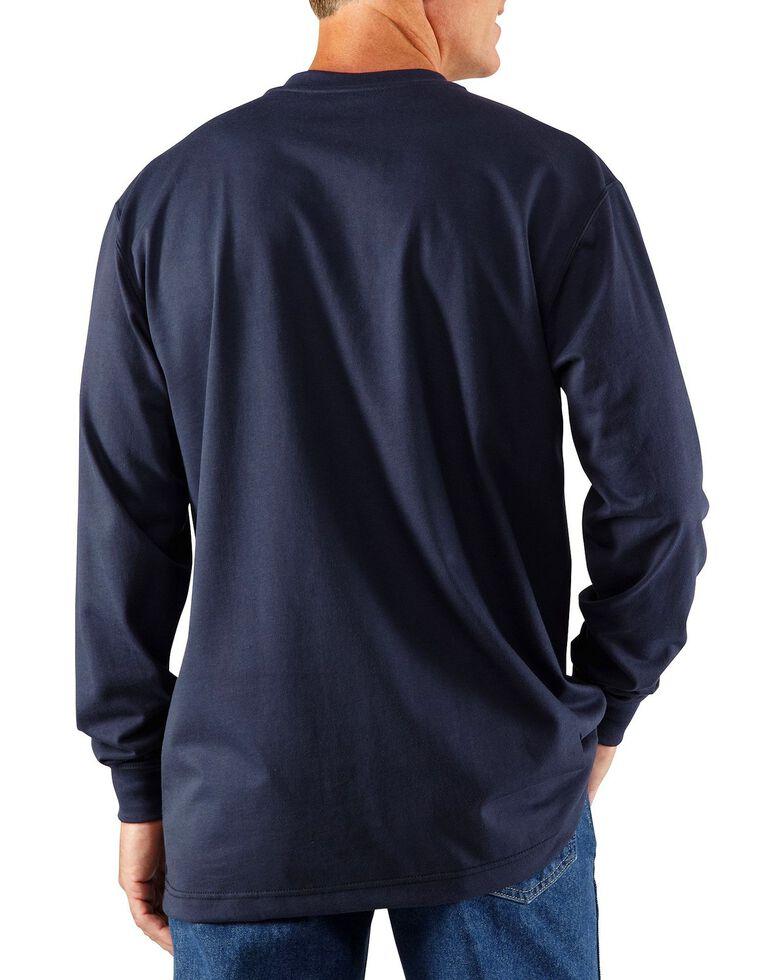 Carhartt Flame Resistant Long Sleeve Work Henley Shirt - Big & Tall, Navy, hi-res