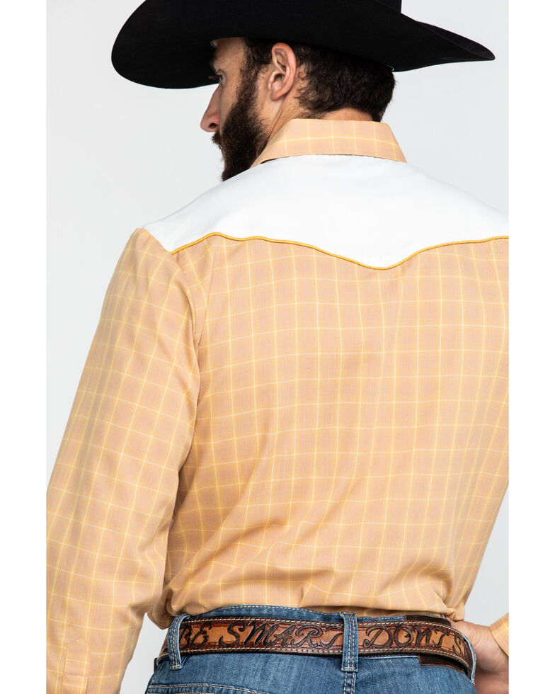 Roper Men's Fancy Applique Embroidered Butterscotch Plaid Long Sleeve Western Shirt , Brown, hi-res