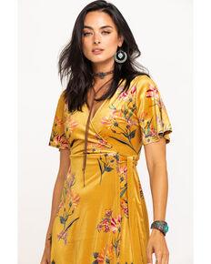 Flying Tomato Women's Mustard Floral Velvet  Wrap Dress, Dark Yellow, hi-res