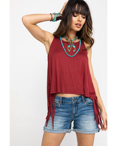 Shyanne Women's Netted Back Fringe Sleeveless Tank , Rust Copper, hi-res
