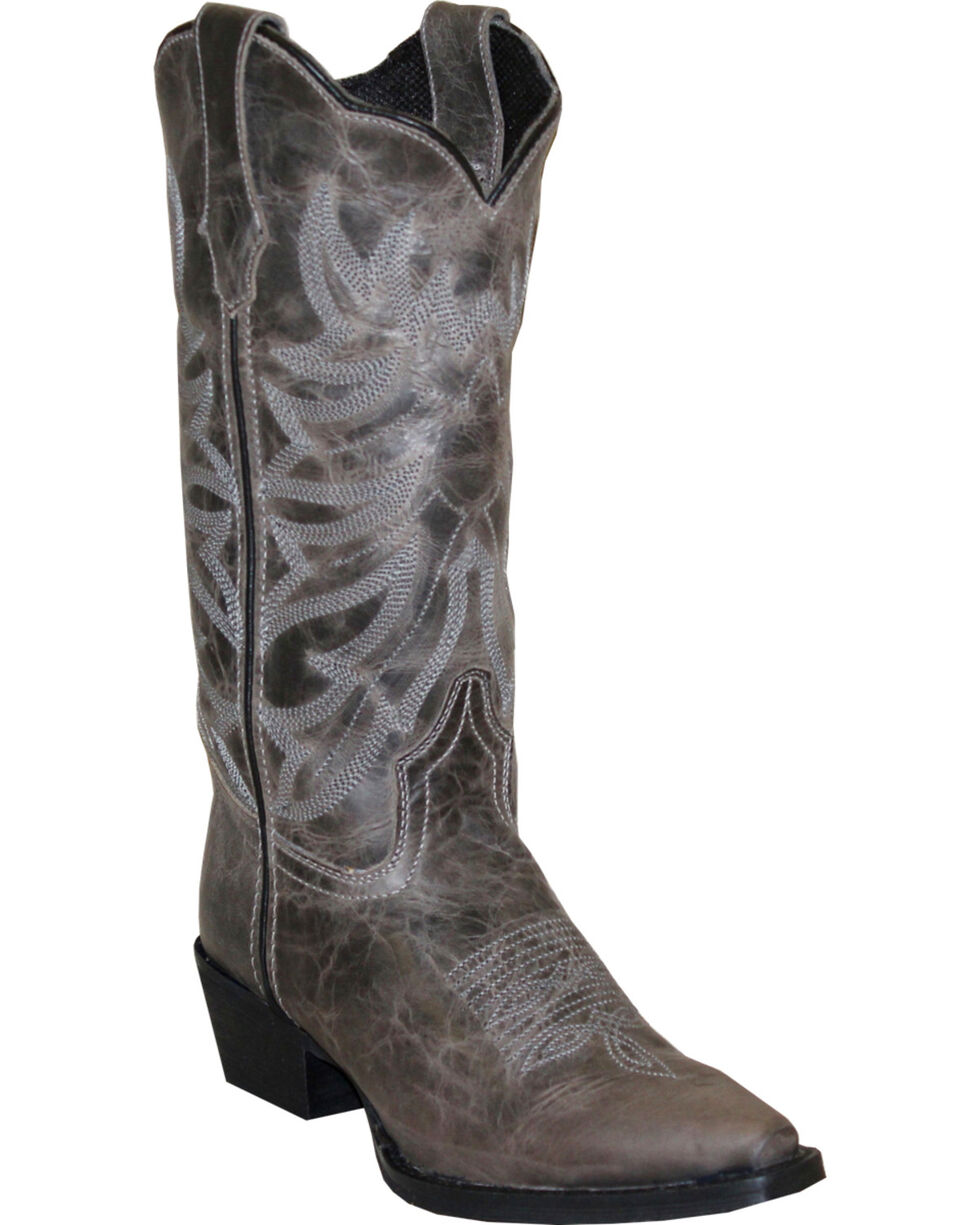 """Rawhide Women's 12"""" Scalloped Top Western Boots, Grey, hi-res"""