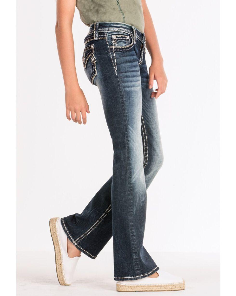 Miss Me Girls' Heavy Stitch Bootcut Jeans, Blue, hi-res