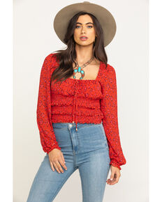 Free People Women's Printed Lolita Top, Red, hi-res