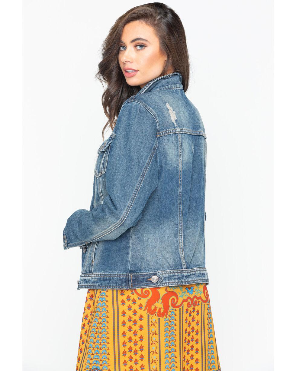 Shyanne Women's Vintage Washed Long Sleeve Denim Jacket , Blue, hi-res