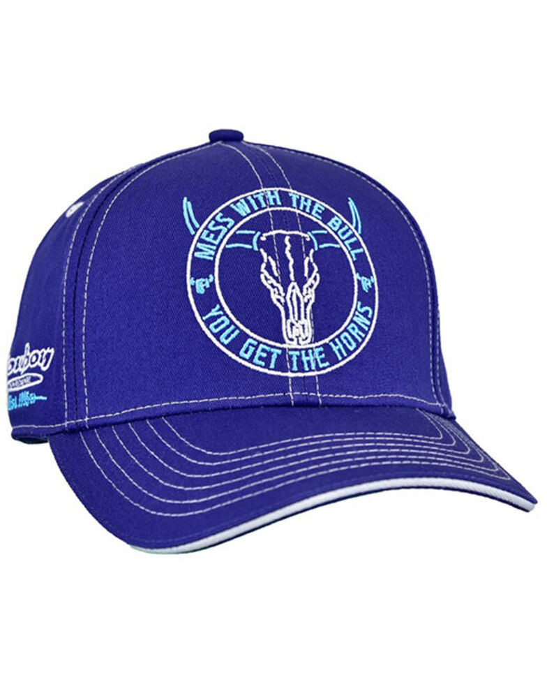 Cowboy Hardware Men's Navy Mess With The Bull Embroidered Ball Cap , Navy, hi-res