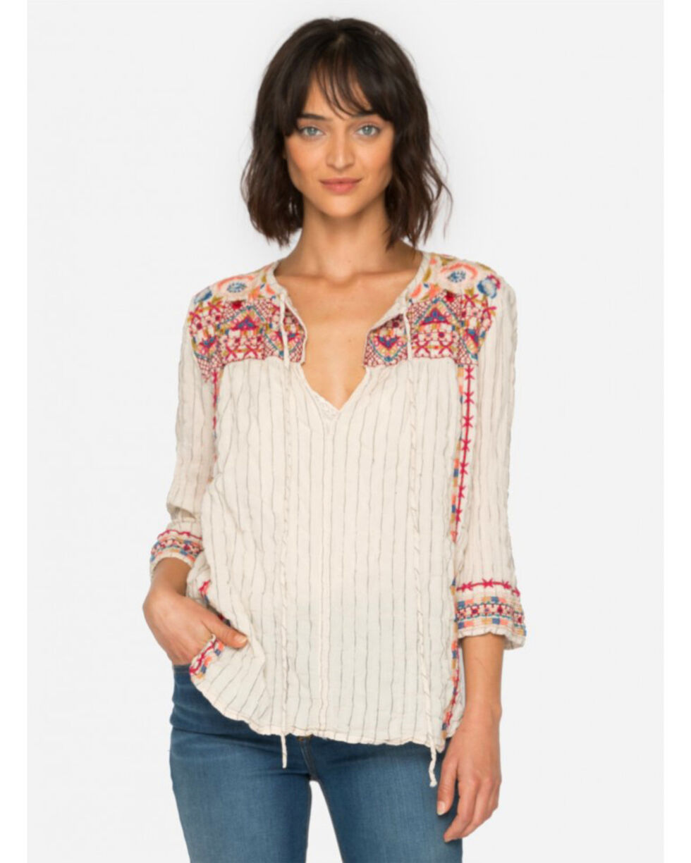 Johnny Was Women's Kealan Mindy Stripe Boho Blouse, Beige/khaki, hi-res