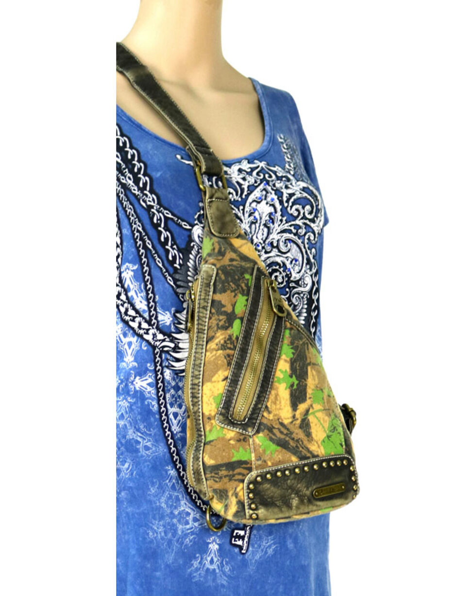 Montana West Camo Stone Washed Canvas Crossbody Sling Bag, Green, hi-res