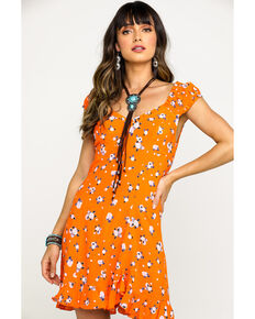 Free People Women's Like A Lady Printed Mini Dress, Orange, hi-res