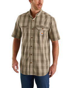 Carhartt Men's Olive Rugged Flex Rigby Short Sleeve Plaid Work Shirt - Big , Olive, hi-res