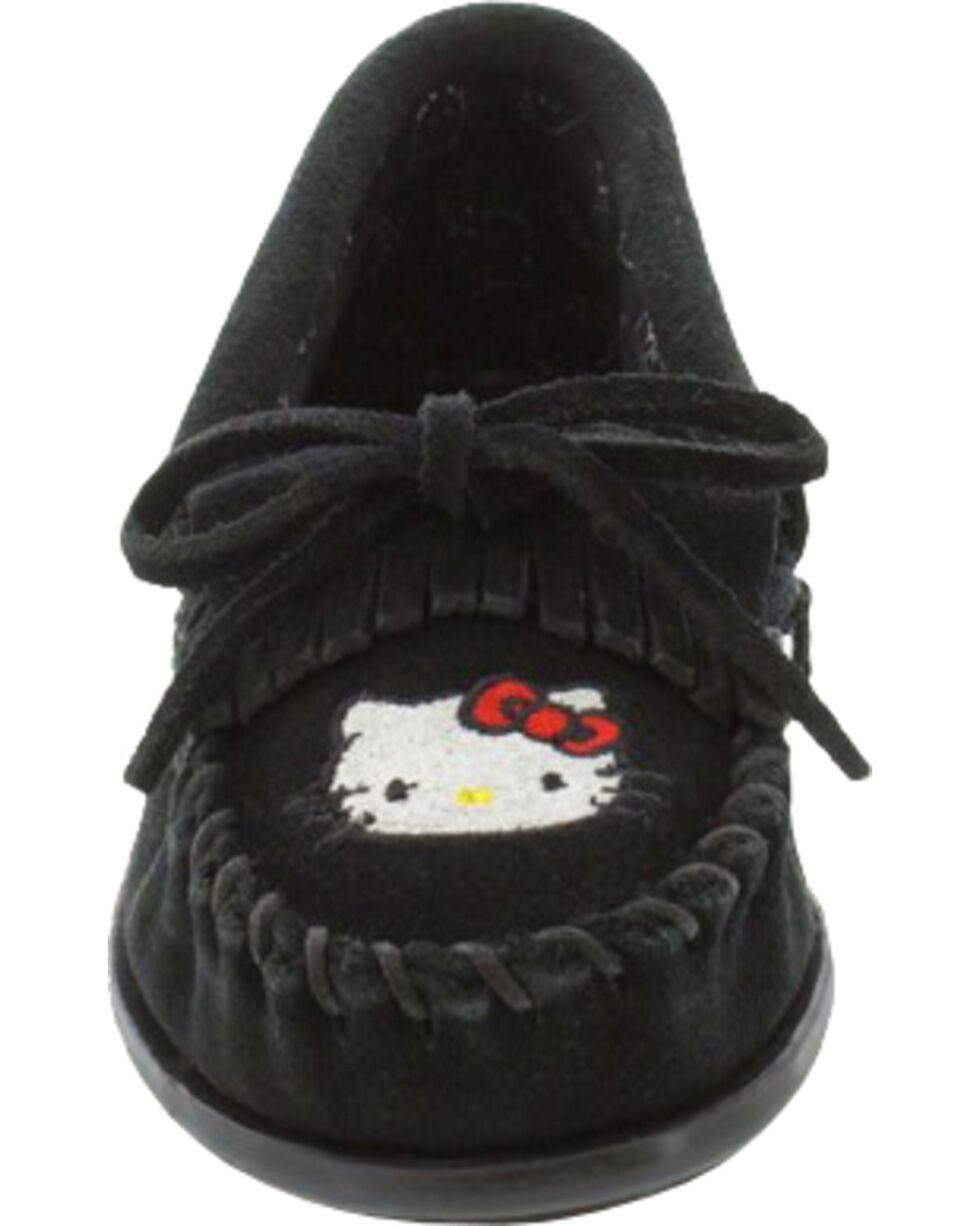 Minnetonka Girls' Hello Kitty Moccasins, Black, hi-res