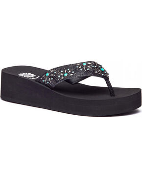 Yellow Box Women's Adesina Embossed Embellished Thong Sandals, Black, hi-res