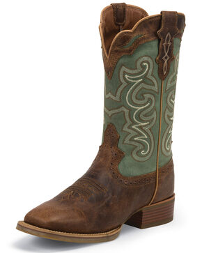 Justin Women's Ashena Western Boots, Green, hi-res