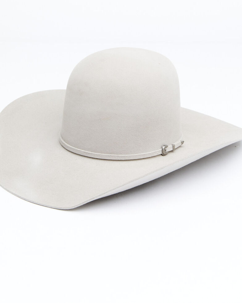 Rodeo King 7X Fur Open Crown Self Band Western Felt Hat, Silver Belly, hi-res