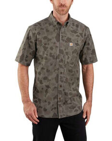 Carhartt Men's Camo Rugged Flex Rigby Short Sleeve Work Shirt , Camouflage, hi-res