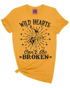 Ali Dee Women's Mustard Wild Hearts Can't Be Broken Graphic Tee, Dark Yellow, hi-res