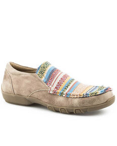 Roper Women's Vintage Beige Multicolor Shoes - Moc Toe, Tan, hi-res