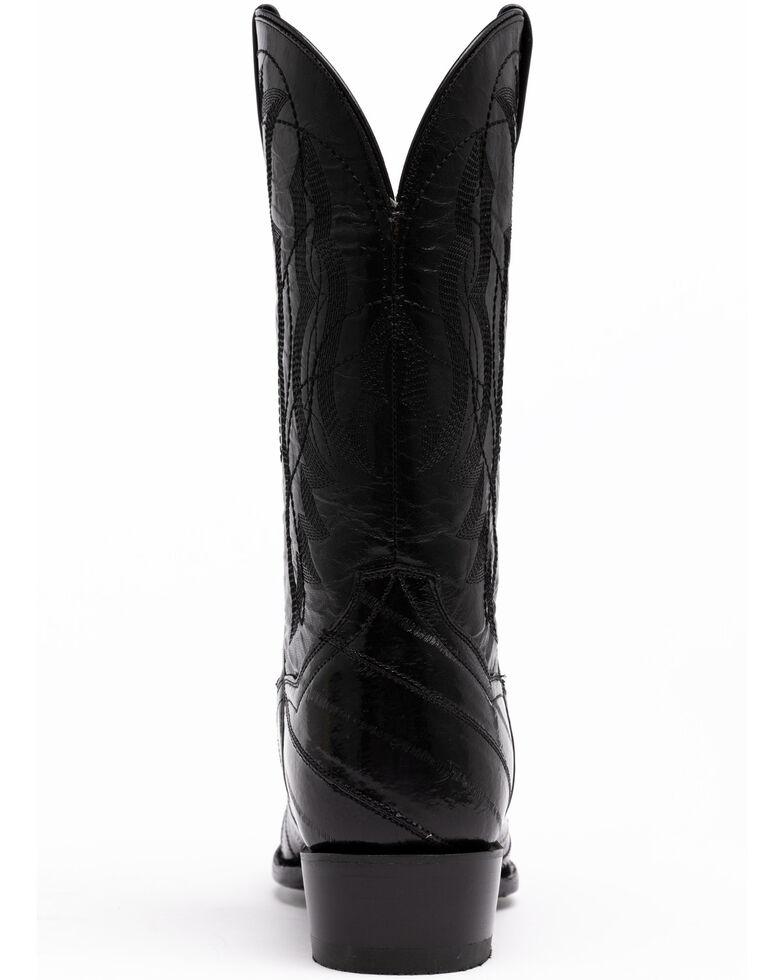 Dan Post Men's Black Eel Western Boots - Round Toe, Black, hi-res