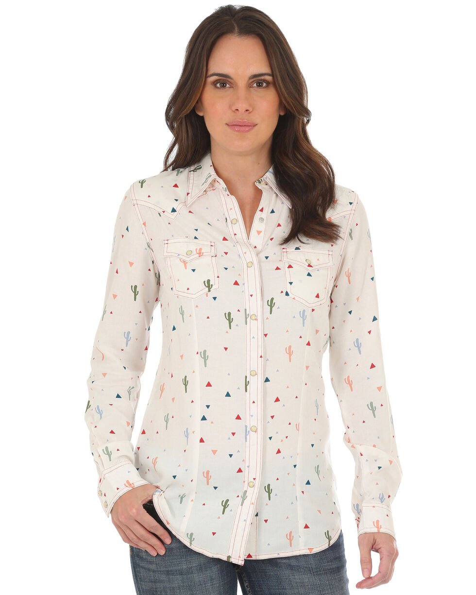 Wrangler Women's Cactus Pearl Snap Shirt , Ivory, hi-res